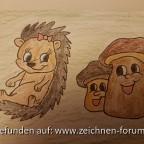 Igelmädchen mit Pilzen Monatspostkarte Oktober 2017