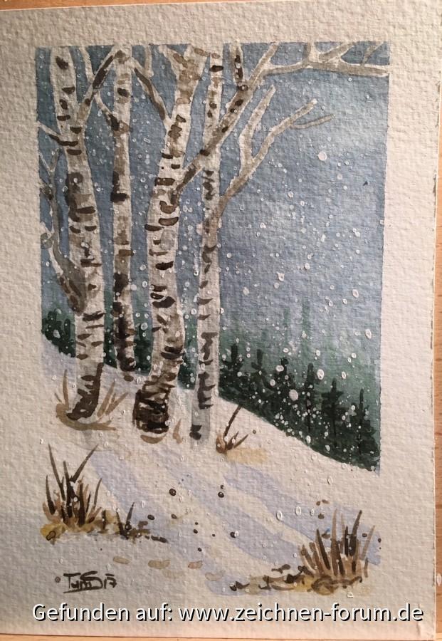 Winterlandschaft in Aquarell
