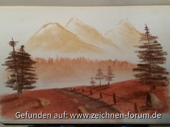 Landschaftsfantasie in Pastell