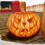 Halloween-Kürbis auf Veranda