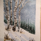 Winterlandschaft in Aquarell