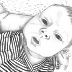 Kalenderbild 2021 Dezember: Baby Sontje in Bleistift
