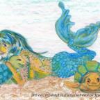 Meerjungfrau mit Meeresschildkröten