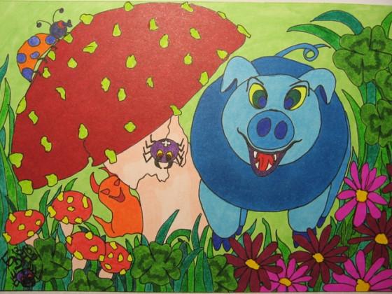 TERRA12-blaues Glücksschwein 1