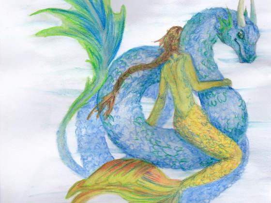Meerjungfrau auf Meeresschlange