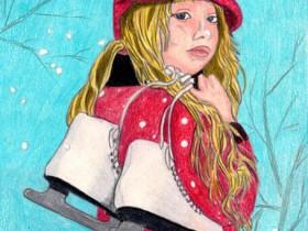 Mädchen mit Schlittschuhen im Schnee