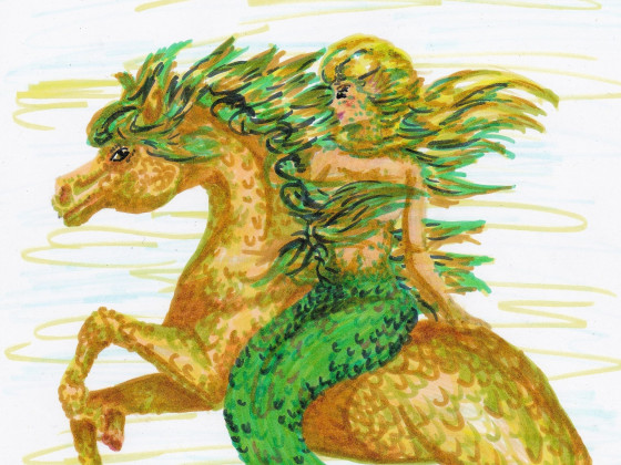 Meerjungfrau auf Meerpferd